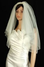 Bridal Veil Diamond (Off) White 2 Tiers Elbow Length Edge Trimmed With Beads