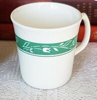 Set/2 Corelle by Corning Mugs Cups LIZA Pattern White Floral on Green Band