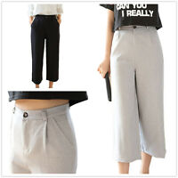 New Women Cropped High Waisted Plain Black Casual  Work Wide Leg Trousers