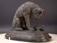 "Bronze Dog with Turtle ""Curiosity"" Marble Base"