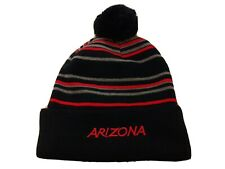 "Men's ""Arizona"" beanie bobble hat black with red grey stripes knit American USA"