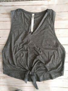 Lululemon gray tie front, short sleeve t shirt size 8