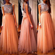 Fashion Womens Sequins Champagne Long Party Prom Dresses Evening Clubwear Gowns