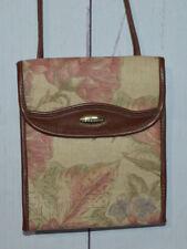 Liz Claiborne Brown Beige Floral Vinyl Satchel Purse Soft Lining Vintage
