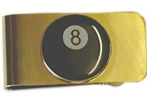 Gold Finish Metal 8-Ball Pool Money Clip In Gift Pouch. NEW