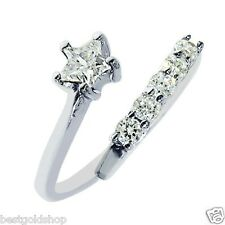 925 Sterling Silver One Size Fits All Prong Set Star Cz Toe Ring Real Solid