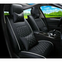 Universal Car Seat Covers PU Leather Front Rear Full Set w//Neck Lumbar Pillows