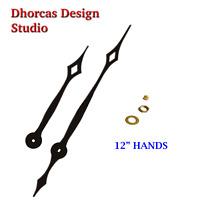 "(#028) Quartz Clock movement kit HIGH TORQUE motor & LONG 12"" hand. CHOOSE SHAFT"