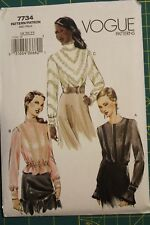 Vogue Pattern #7734 Size 18-20-22 Misses' Blouse / top long sleeves
