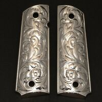 Grips America 1911 COMPACT GRIPS, FITS COLT DEFENDERS,OFFICERS Scroll Nickel