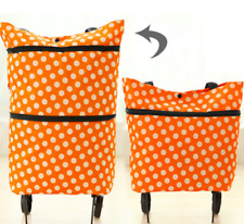 Lightweight Folding Trolley Shopping Bag Foldable Wheeled Cart & Shoulder Bag **