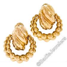David Webb 18k Yellow Gold Hammered Texture Finish Door Knocker Clip On Earrings