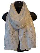 Ladies Women WHITE Snowflake Christmas Metallic Foil Print Scarf Wrap Pashmina