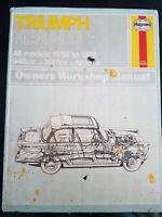 Haynes Car Manual Triumph Herald Owners Workshop Manual (Hardback, 1959 to 1971)