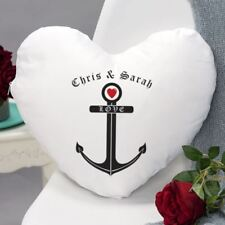 Love Anchor Heart Shaped Personalised Cushion - printed with the couples names