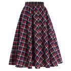 VINTAGE Style Women Stretch High Waist Skater Flared Pleated Long A-Line Skirt