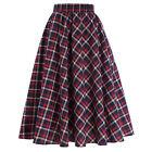 Mujer Corte TRAPECIO plisado vestido A Media Pierna falda elástico cintura alta
