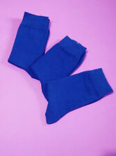 3 Pairs Unisex Women Mens Casual Crew  Dress Cotton Rich Blue Socks Size 2-8