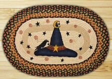 BRAIDED HAND STENCILED OVAL PATCH RUG By EARTH RUGS--WITCH HAT