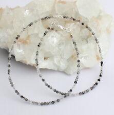 Cuarzo Turmalina Cadena Collar de Piedras Preciosas Facetadas Gris Negro Aprox.