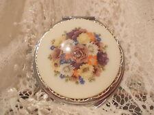 Silver Compact Mirror - Vintage Floral Medallion
