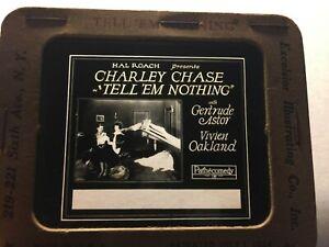 Charlie Chase Very Rare Original Movie Magic Lantern Slide '26 Tell 'Em Nothing