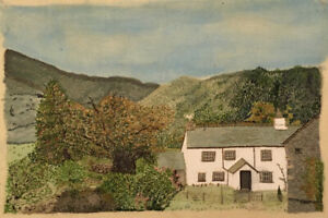 Naive English Country Farm House- Original Painting With Stitch Detail