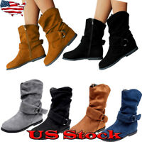 Ladies Women's Suede Zip Up Slouch Casual Mid Calf Flat Boots Solid Winter Shoes