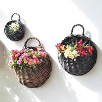 Wall Fence Hanging Planter Plant Flower Pot Handmade Rattan Garden Basket