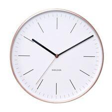 Wall Clock Minimal White Copper Case Designer Unique Modern Stylish Timepiece