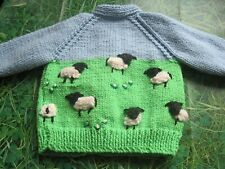 HAND KNITTED BOYS YORKSHIRE SHEEP / LAMBS CARDIGAN. AGE 3-6m. EASTER?