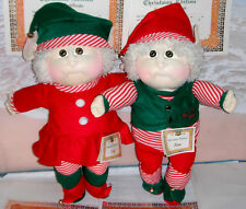 Cabbage Patch  Xavier Roberts Soft Scupture 1988 Christmas ELVES  KELLY & KANE