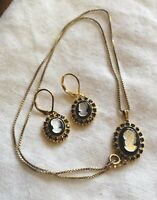 Vintage Yellow Gold Fill Faux Black Onyx MOP Cameo Necklace Lever Back Earrings