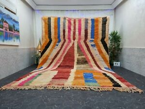 "Moroccan Large Boujaad Handmade Rug 9'x12'7"" Berber Striped Orange Pink Carpet"