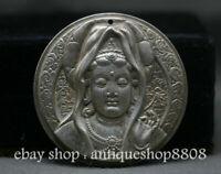 48MM Old Chinese Miao Silver Boddhisattva Guan Yin Goddess Amulet Pendant BUddha