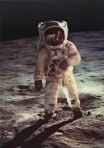 3D Postkarte – Spaziergang auf dem Mond, Moonwalk – Raumfahrt, Weltraum, Weltall