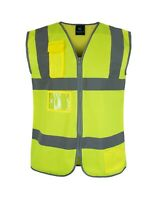 Hi-Vis Safety Vest Frontal Pockets Cool Dry Mesh Back ANSI Class 2 KV01