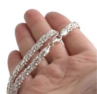 3.5mm 22GR 22Inch Byzantine Chunky Maille Chain Necklaces 925 Sterling Silver