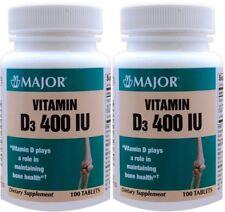 Vitamin D3 as Cholecalciferol 400 I.U 100 Tablets per Bottle 2 PACK