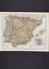 Landkarte map 1867: Spanien und Portugal.
