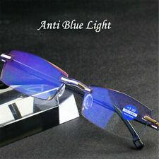 Diamond Trimming Anti Blue Light Frameless Reading Glasses Eyeglasses UK