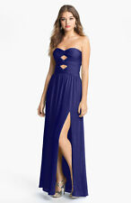 NEW  Hailey by Adrianna Papell Cutout Detail Twist Mesh Gown (Size 8) Sapphire