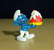 Smurfs McDonalds Greedy Smurf Birthday Cake Figure 1996 Vintage Toy PVC Figurine