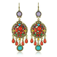 Hot Fashion Vintage Earrings Red & Colourful Long Round Drop Dangle Earrings VE6
