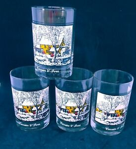 Currier & Ives Glasses Frozen Up Arby's Collector's Series 1978 set of 4
