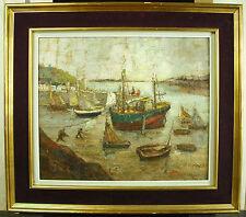 Marguerite DENIS (1905-?) Bretagne Cancale le port à marée basse peinture bateau