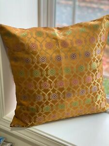 """Pillow cover/ Cushion Cover, Silk, Brocade 18"""" Case for 20"""" Insert, Green, Gold"""