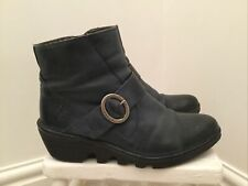 """Ladies """"Fly London"""" Dark Blue Leather Ankle Boots Size UK 6 / EU 39"""
