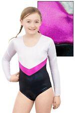 """Kinder Holo Gymnastikanzug Body """"Annabell"""" weiß-magenta-schwarz stretch shiny"""