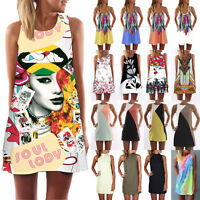 Women's Summer Casual Sleeveless Party Cocktail Short Mini Dress Vest Long Tops